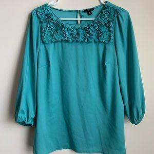 Ann Taylor Turquoise Blouse Shirt 8 Petite